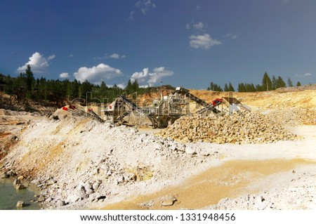 Stone crushers in quarry. Quarrying of stones #1331948456
