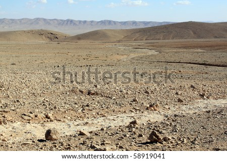 Stone desert near monastery Mar Musa in Syria - stock photo
