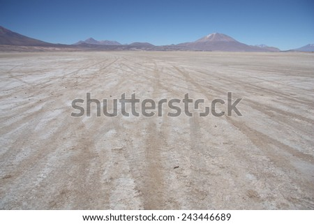 Stone deserted plain with car traces, Uyuni, Bolivia