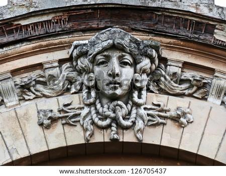 Stone face. Ancient building. Odessa, Ukraine - stock photo