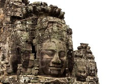 Stone face at ancient bayon temple isolated on white background at  Angkor Wat Siem Reap Cambodia