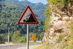 stone-fall warning sign