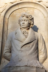 Stone figure of musical genius, composer and pianist Ludwig van Beethoven, in a monument from 1898.