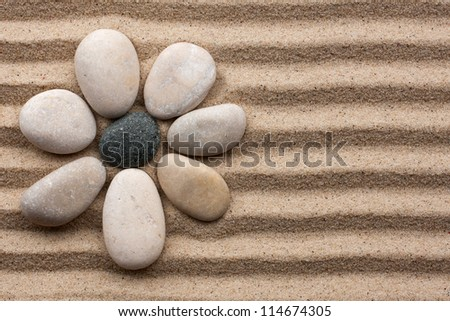 Stone flower on a background of sand