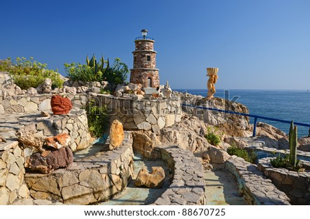Stone garden of greek tavern, Rhodes island