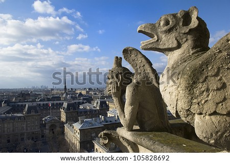 stone guards - chimere of Notre-Dame overlooking Paris. Notre Dame de Paris, Paris, Europe