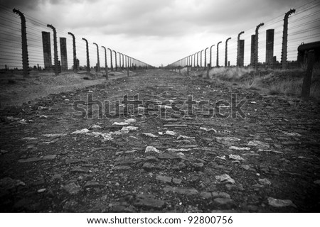 Stone heads road sentenced to death walked through to the crematory in Auschwitz