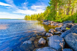 Stone in river water. Summer nature scene