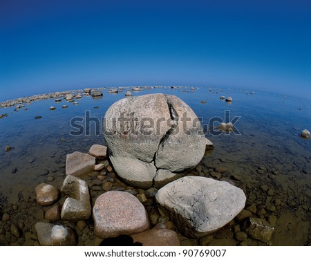 Stone in the Lake Huron in Ontario