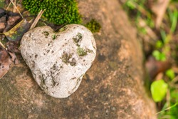 Stone in the shape of a heart in the garden