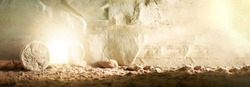 Stone is rolled away from empty grave on Easter morning. Jesus Christ resurrection. Empty tomb of Jesus with light. Born to Die, Born to Rise.