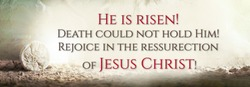 Stone is rolled away from empty grave on Easter morning. Jesus Christ resurrection. Empty tomb of Jesus with light. Born to Die, Born to Rise. He is not here he is risen . Christian Easter concept