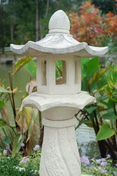 Stone lantern pillar for garden decoration.
