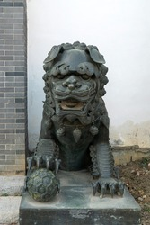 Stone Lion sculpture, symbol of protection
