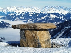 stone monument in mountain