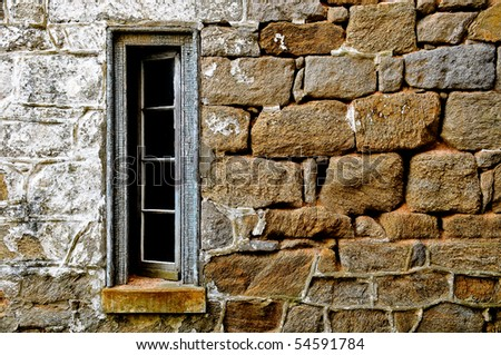 Stone mortar wall and open window