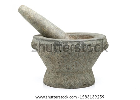 Stone mortars and pestle isolated on white background. #1583139259