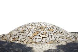 Stone Mound of hemisphere isolated on white background. Stone tomb of hemisphere isolated on white background. Stone Garden based on Silla Tomb.