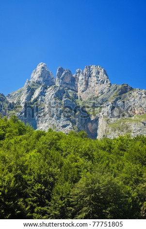 Stone mountains near Fuente De. Picos de Europa, Cantabria, Spain