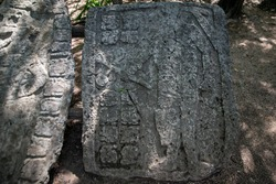 Stone mural in the ancient Mayan city of Coba. Coba Archeological Area, Yucatan, Mexico