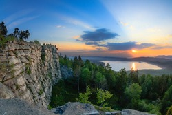 Stone nature wall - lanscape view of Middle Ural, Russia.