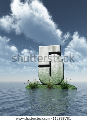 stone number five at the ocean - 3d illustration - stock photo