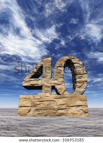stone number forty monument under cloudy blue sky - 3d illustration