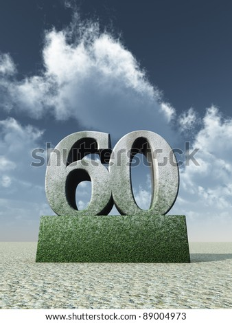 stone number sixty monument under cloudy blue sky - 3d illustration