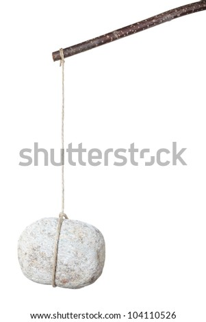 Stone on a stick isolated on white