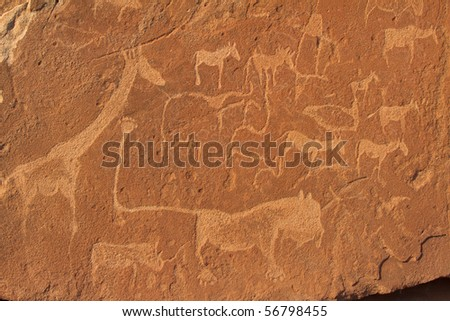 stone painting in africa - stock photo