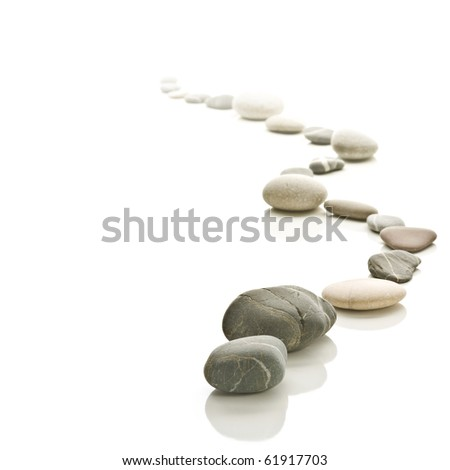 Stone path arranged to a zigzag. Fades to white background. Square format.