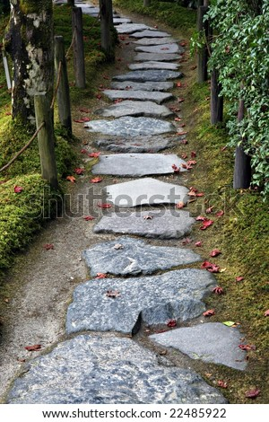 Stone path in a Japanese Garden