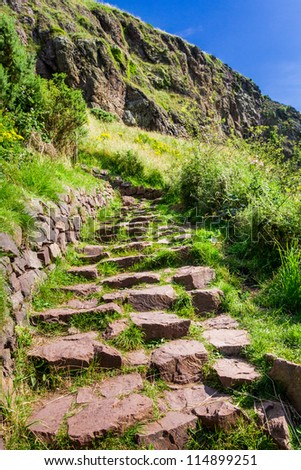Stone path in the mountains leading to the peak in summer