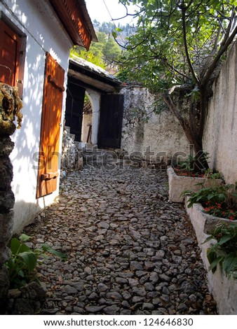 stone path, stairs, access to the old hut in the area Blagaj Buna, near Mostar in Bosnia and Herzegovina