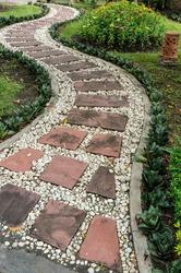 Stone pathway in the garden. Stock Photo