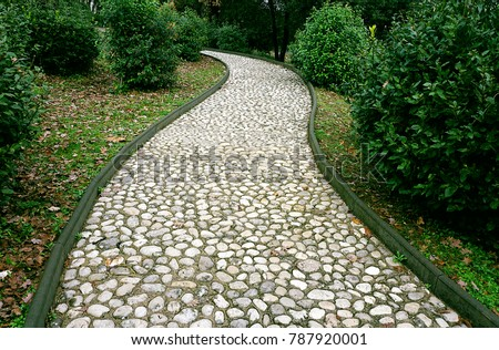 Stone pathway in the park. Stone path made from a pebble. Path surround with green plants. Сток-фото ©