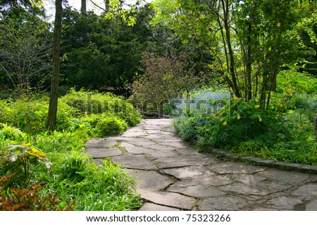 Stone pathway passing through a garden
