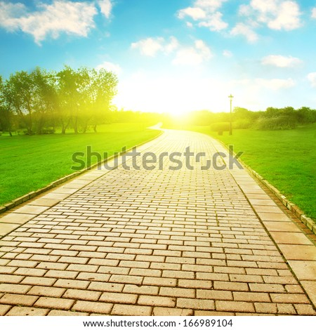Stone pathway under sunlight in the park.