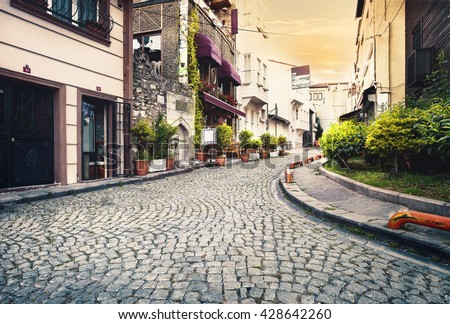 stock photo stone paved street at sunset istanbul turkey 428642260 - Каталог - 3d фотообои