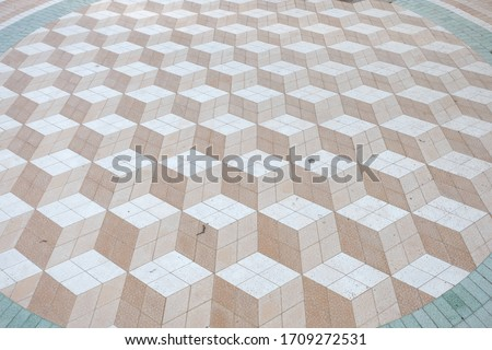 Stone Pavement with 3D Cubes Pattern  Stok fotoğraf ©