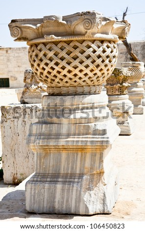 Stone pillars on the Rock Mosque (Har Ha-Bayit) in Jerusalem, Israel.