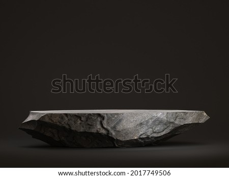 Stone podium for display products on а black background. 3d illustration Сток-фото ©