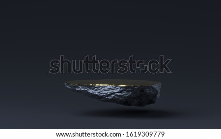 Stone podium for product display. Marble black and gold Pedestal, Product Stand. 3D Rendering. Blank for mockup design. Minimalistic object placement, cosmetic product stone plate platform stock photo