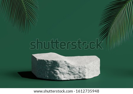 Stone podium product with tropical leaves on green background. 3d rendering