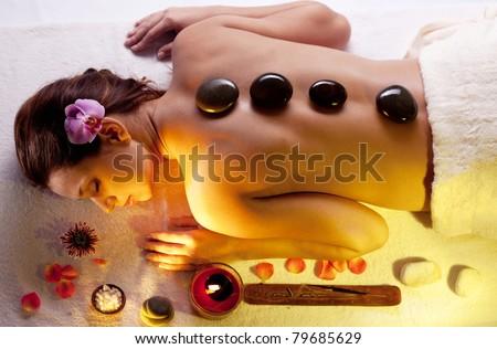 stone procedure. spa massage