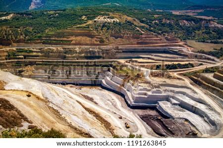 Stone quarry rock quarry, industrial landscape, Greece  #1191263845