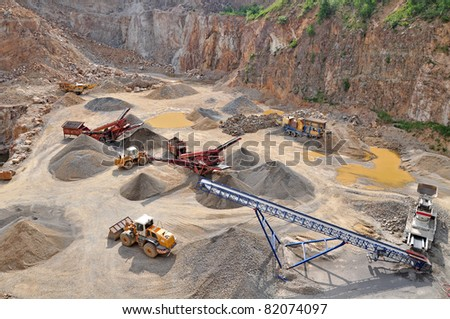 Stone quarry work, mine environment, industry background