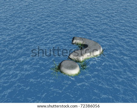 stone question mark at water - 3d illustration