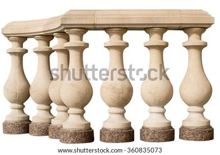 stone railing on a white...
