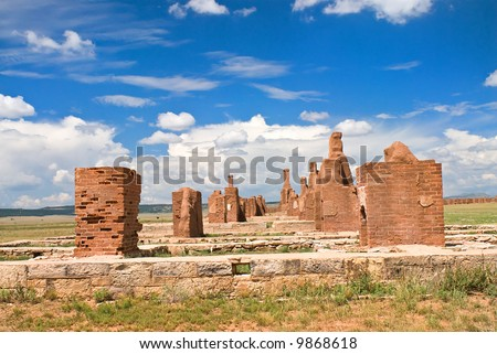Stone Ruins of Old Army Barracks at Fort Union, New Mexico